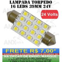 Lampada Torpedo 16 Leds Smd Branca 39mm 24v - Caminhoes