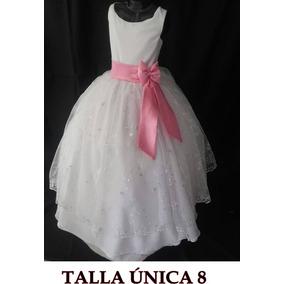 Vestido Nuevos De Primera Comunión Blanco Con Rosado