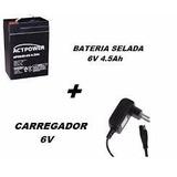 Bateria 6v 4.0/4.5ah + Carregador 6v Moto Bandeirantes