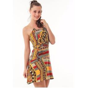 Roupas Femininas / Vestido Estampado Alças Corrente Handara