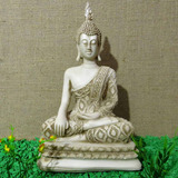 Buda Hindu Tailandes Marfim Branco Estatueta Em Resina