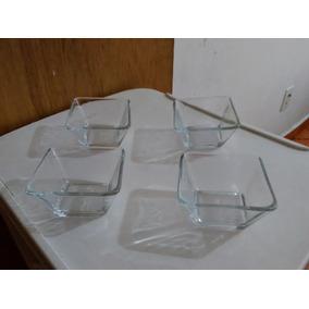 Set De 4 Mini Tazones De Vidrio Marca Crisa