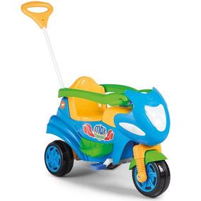 Carrinho De Passeio C/ Pedal Triciclo Azul Bebe Motoca