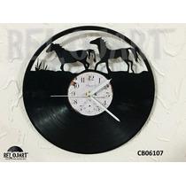 Original Reloj De Pared Disco Acetato Lp - Caballos