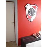 Escudo Futbol River Plate. En Madera C/relieve. Artesanal