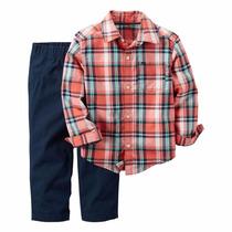 Conjunto Carters Menino Jeans Calça Camisa Verm E Azul