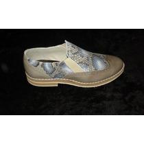 Zapatos De Diseño Dama Cuero Vacuno Grabado $ 900.00