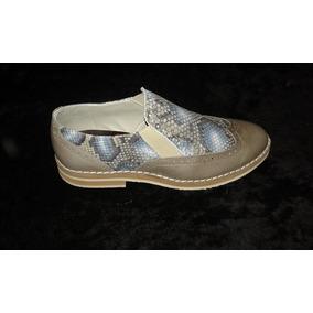 Zapatos De Diseño Dama Cuero Vacuno Grabado $ 700.00