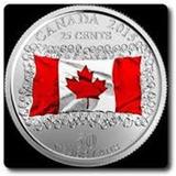 Set 2 Monedas 25 Cents - Bandera Canada Esmaltada 2015