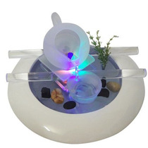 Cascata Fonte Agua Decorativa Ceramica Vidro Luz Led 110v