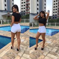 Short Shortinho Jeans Feminino Hot Pants Lycra Bermuda