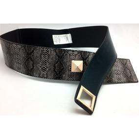 Cinturón Dama Imitación Serpiente Moda Unicco Hebilla Oro