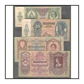 Colecc. De 4 Billetes Hungria 2da Guierra Mundial
