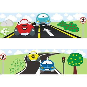 Faixa Adesivo Infantil Border Transporte Carrinho Carro 25