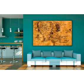 Cuadro Mapa El Señor De Los Anillos Cuerina 110x80 Cm