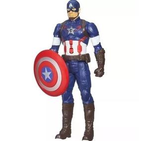 Brinquedo Boneco Capitão América 30cm Sons E Luz Titan Hero