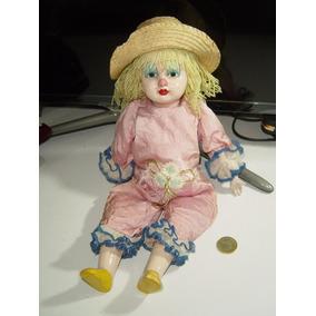 Muñeca Payasita Porcelana Con Pelo De Estambre