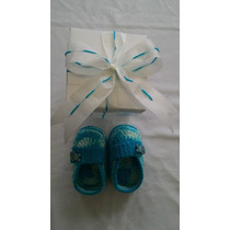K 201 Sapatinho Crochê Masculino Azul Bebe Enxoval Menino