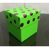 Caixinhas De Papelão Verde Pink Brilhante Presente 10 Unid.