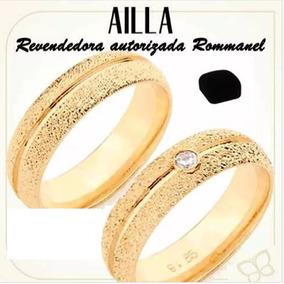 Par De Alianças 5 Mm Granitada Fol Rommanel 511527 511525