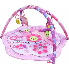 Tapete Ginásio Interativo Bebe Portátil Com Brinquedos Rosa