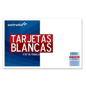 Estrella Tarjeta Estrella Trabajo 5x8 Blanca C/100