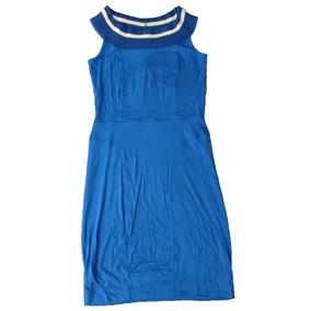 Vestido Triton Malha Azul Tamanho P