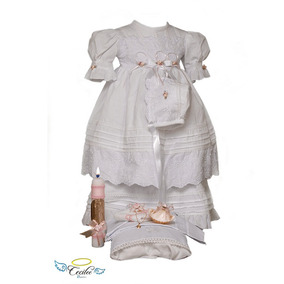 Set Ropon De Bautizo Exclusivo Manta Para Niña Hermoso