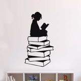 Adesivo Decorativo De Parede Menina E Livros Sala E Quarto