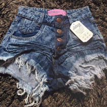Shorts Jeans Estilo Pitbull Anita Escuro Sujo
