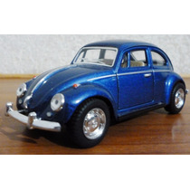 Volkswagen Beetle Sedan Vocho Azul Escala 1/32 Kinsmart