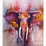 Elefante Pintura En Tela Canvas De 70x60 Cm - Exelente