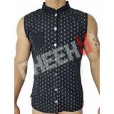 Chaleco Casual Masculino Camiseta Sin Mangas Botones-cuello