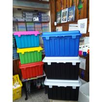 Baul Caja Plastica Con Bisagras, Trabas Y Ojal Para Candado
