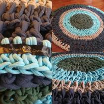Alfombra Crochet Tejida En Totora De 70cm.