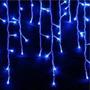 Pisca Cascata 100led 8 Funções Azul C/fio Branco 220v