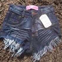 Shorts Jeans Customizado Hot Pants Escuro Manchado