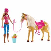 Boneca Barbie Com Cavalo C/ Movimentos De Verdade