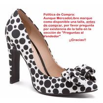 Zapatillas Andrea Blancas Lunares Negros Dots Moño 18267
