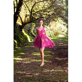 Vestido Curto Evasê Rosa Pink Bordado Em Renda E Tule Legabo