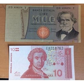 Billetes Italia 1000 Liras, Banco Croacia 10 K Envio Gratis