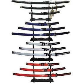 Set De 3 Katanas Samurai Con Base Madera Acero 440