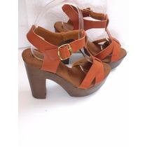 Zapatillas Color Camel, Cruzadas, Moda Tacón 13cm Piel