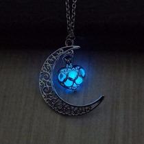 Hermoso Collar Luna Para Mujer Novia Brilla En La Oscuridad+