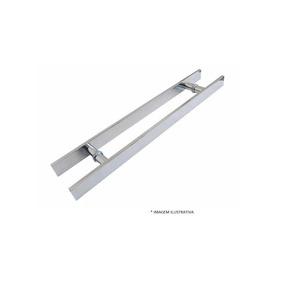 Puxador Duplo Alumínio 40cm Porta Pivotante Madeira / Vidro