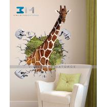 Vinilo Decorativo Animales 3d Jirafa Safari Sticker De Pared