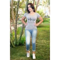 Blusa Feminin Tecido T-shirts Manga Curta Estampada Promoção