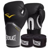 Kit Boxe Everlast - Luva Preta 12oz + Bandagem