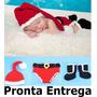 Roupa Fantasia De Papai Noel Bebê Criança Infantil Mod. Luxo