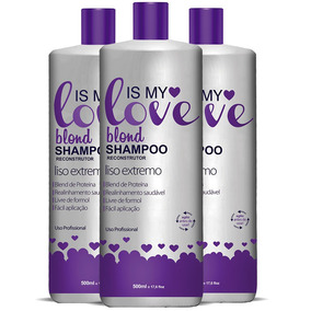 Kit 3 Shampoo Alisante Blond Liso Extremo Is My Love 500ml